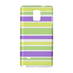Yellow Purple Green Stripes Samsung Galaxy Note 4 Hardshell Case by BrightVibesDesign