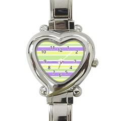 Yellow Purple Green Stripes Heart Italian Charm Watch by BrightVibesDesign