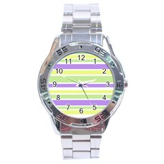 Yellow Purple Green Stripes Stainless Steel Analogue Watch by BrightVibesDesign