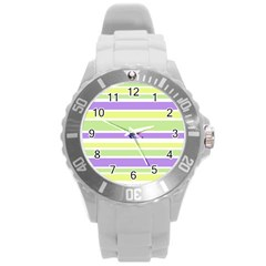 Yellow Purple Green Stripes Round Plastic Sport Watch (L) by BrightVibesDesign