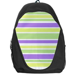 Yellow Purple Green Stripes Backpack Bag by BrightVibesDesign