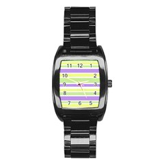 Yellow Purple Green Stripes Stainless Steel Barrel Watch by BrightVibesDesign
