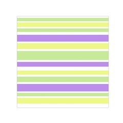 Yellow Purple Green Stripes Small Satin Scarf (square) by BrightVibesDesign