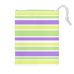 Yellow Purple Green Stripes Drawstring Pouches (extra Large) by BrightVibesDesign
