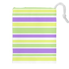 Yellow Purple Green Stripes Drawstring Pouches (XXL) by BrightVibesDesign