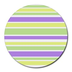 Yellow Purple Green Stripes Round Mousepads by BrightVibesDesign