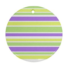 Yellow Purple Green Stripes Ornament (Round)  by BrightVibesDesign