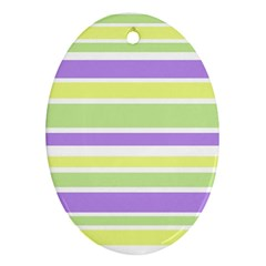 Yellow Purple Green Stripes Ornament (oval)  by BrightVibesDesign