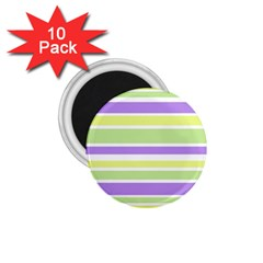 Yellow Purple Green Stripes 1.75  Magnets (10 pack)  by BrightVibesDesign