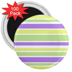 Yellow Purple Green Stripes 3  Magnets (100 Pack) by BrightVibesDesign