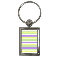 Yellow Purple Green Stripes Key Chains (rectangle)  by BrightVibesDesign