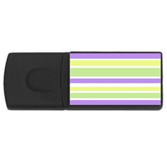 Yellow Purple Green Stripes USB Flash Drive Rectangular (4 GB)  by BrightVibesDesign