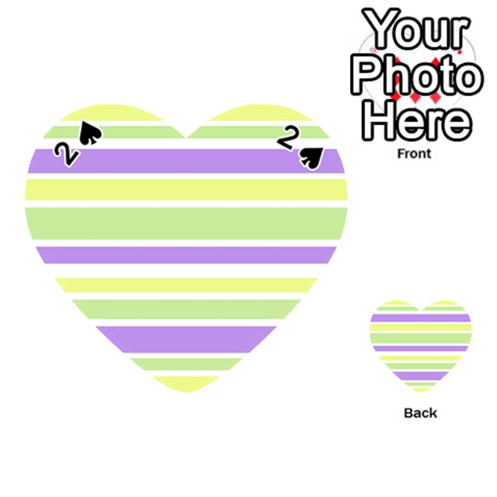 Yellow Purple Green Stripes Playing Cards 54 (Heart)