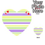 Yellow Purple Green Stripes Playing Cards 54 (Heart)  Front - Heart4