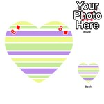 Yellow Purple Green Stripes Playing Cards 54 (Heart)  Front - Diamond8