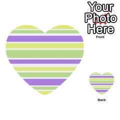 Yellow Purple Green Stripes Multi Purpose Cards (heart)  by BrightVibesDesign