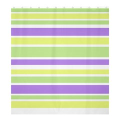 Yellow Purple Green Stripes Shower Curtain 66  X 72  (large)  by BrightVibesDesign