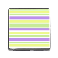 Yellow Purple Green Stripes Memory Card Reader (square) by BrightVibesDesign