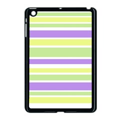 Yellow Purple Green Stripes Apple Ipad Mini Case (black) by BrightVibesDesign