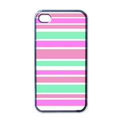 Pink Green Stripes Apple iPhone 4 Case (Black)