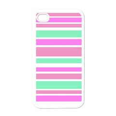 Pink Green Stripes Apple Iphone 4 Case (white) by BrightVibesDesign