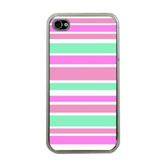Pink Green Stripes Apple iPhone 4 Case (Clear)