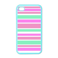 Pink Green Stripes Apple Iphone 4 Case (color) by BrightVibesDesign