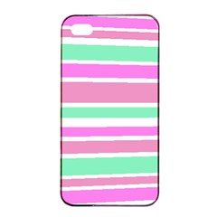 Pink Green Stripes Apple iPhone 4/4s Seamless Case (Black)