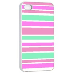 Pink Green Stripes Apple iPhone 4/4s Seamless Case (White)