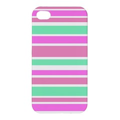 Pink Green Stripes Apple Iphone 4/4s Premium Hardshell Case by BrightVibesDesign
