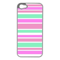 Pink Green Stripes Apple iPhone 5 Case (Silver)
