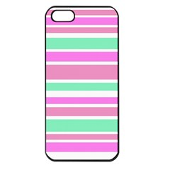 Pink Green Stripes Apple Iphone 5 Seamless Case (black) by BrightVibesDesign