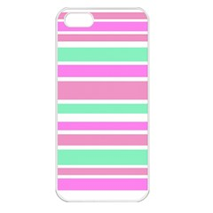 Pink Green Stripes Apple iPhone 5 Seamless Case (White)