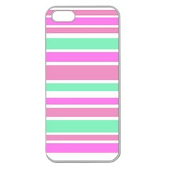 Pink Green Stripes Apple Seamless Iphone 5 Case (clear) by BrightVibesDesign