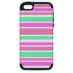 Pink Green Stripes Apple Iphone 5 Hardshell Case (pc+silicone) by BrightVibesDesign