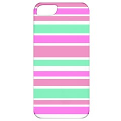 Pink Green Stripes Apple Iphone 5 Classic Hardshell Case by BrightVibesDesign