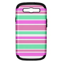 Pink Green Stripes Samsung Galaxy S III Hardshell Case (PC+Silicone)