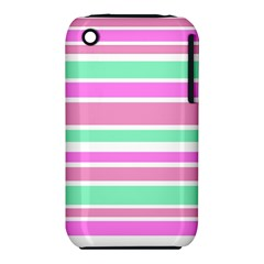 Pink Green Stripes Apple Iphone 3g/3gs Hardshell Case (pc+silicone) by BrightVibesDesign