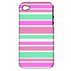 Pink Green Stripes Apple Iphone 4/4s Hardshell Case (pc+silicone) by BrightVibesDesign