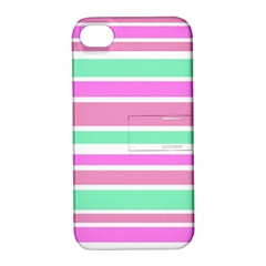 Pink Green Stripes Apple iPhone 4/4S Hardshell Case with Stand