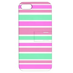 Pink Green Stripes Apple iPhone 5 Hardshell Case with Stand
