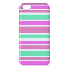Pink Green Stripes Apple Iphone 5 Premium Hardshell Case by BrightVibesDesign