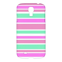 Pink Green Stripes Samsung Galaxy S4 I9500/i9505 Hardshell Case by BrightVibesDesign