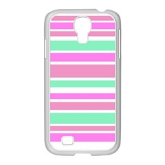Pink Green Stripes Samsung Galaxy S4 I9500/ I9505 Case (white) by BrightVibesDesign