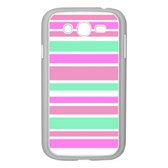 Pink Green Stripes Samsung Galaxy Grand Duos I9082 Case (white) by BrightVibesDesign