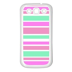Pink Green Stripes Samsung Galaxy S3 Back Case (white) by BrightVibesDesign