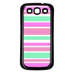 Pink Green Stripes Samsung Galaxy S3 Back Case (Black)