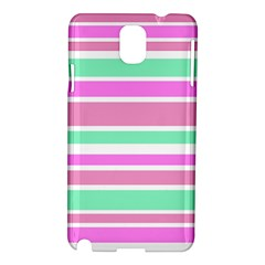 Pink Green Stripes Samsung Galaxy Note 3 N9005 Hardshell Case by BrightVibesDesign