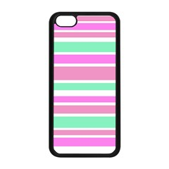 Pink Green Stripes Apple Iphone 5c Seamless Case (black) by BrightVibesDesign