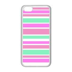 Pink Green Stripes Apple Iphone 5c Seamless Case (white) by BrightVibesDesign